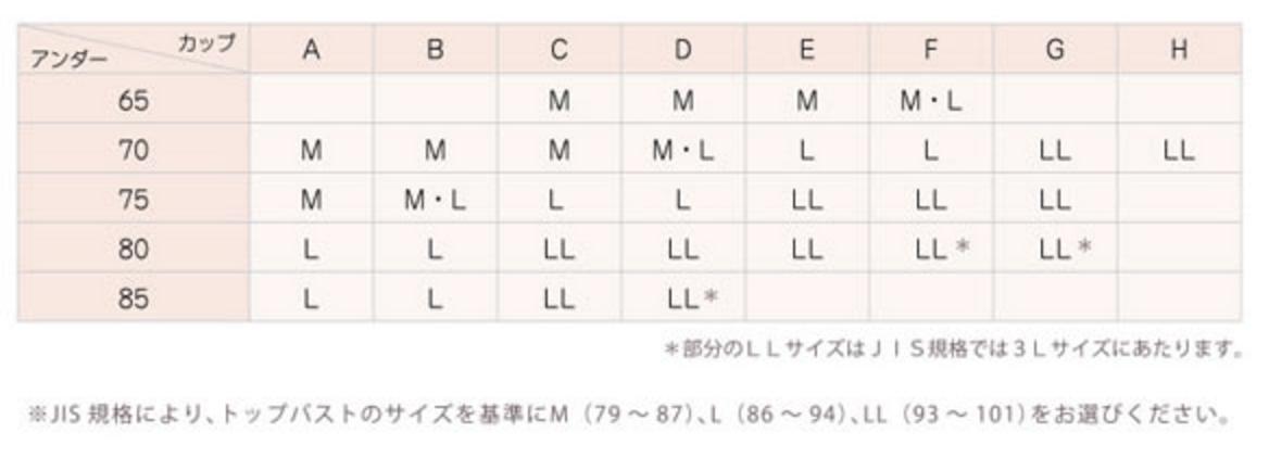 ワコール_サイズ表