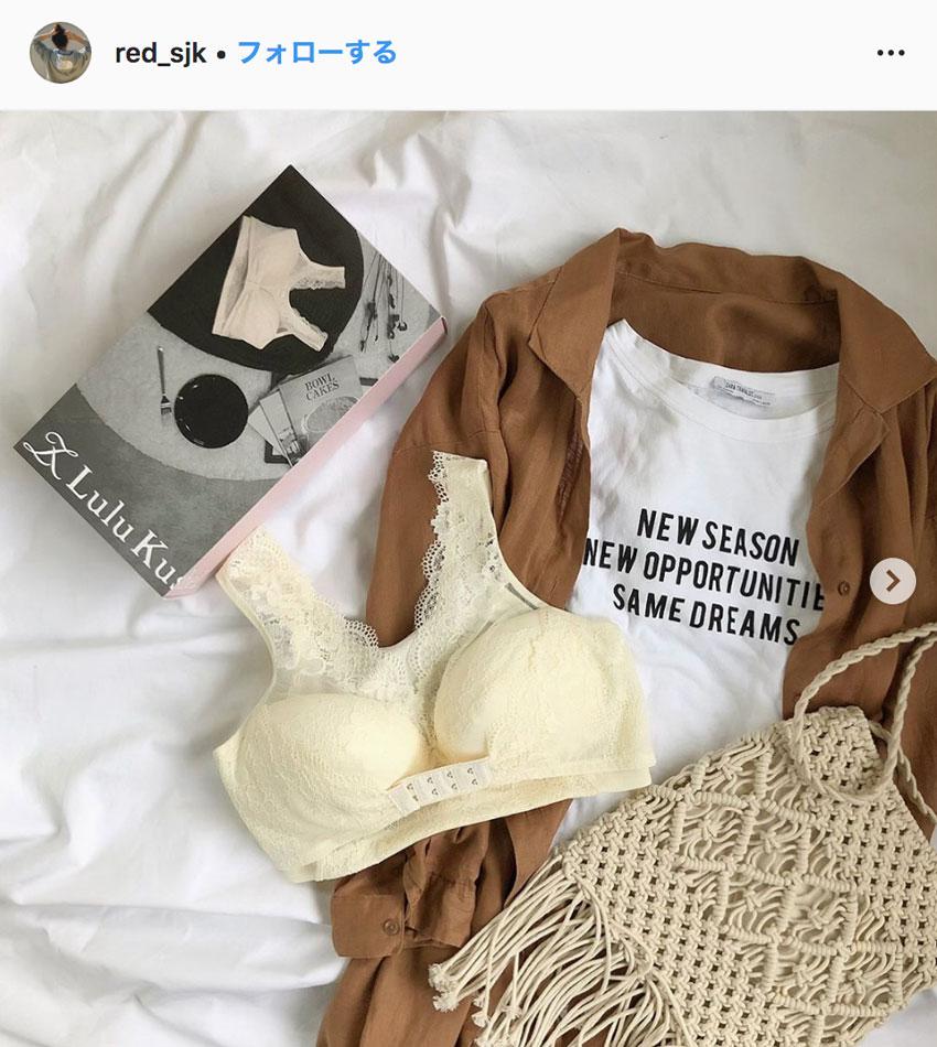 ルルクシェルくつろぎ育乳ブラ_口コミ_Instagram_アイボリー1