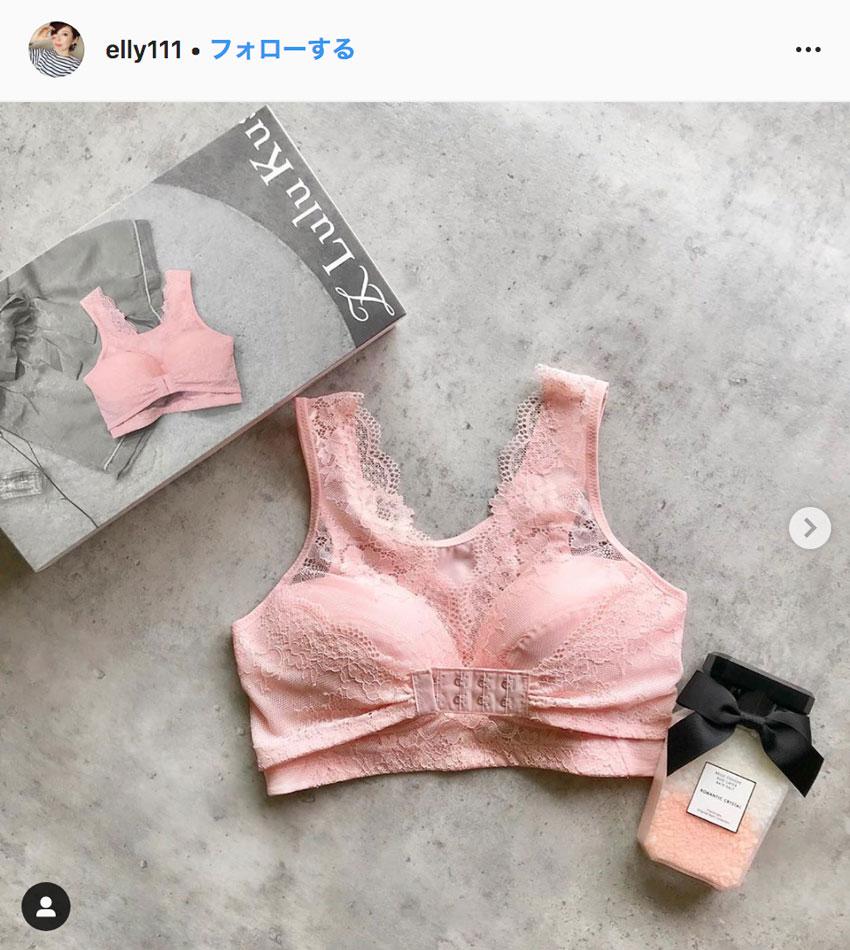 ルルクシェルくつろぎ育乳ブラ_口コミ_Instagram_ピンク1